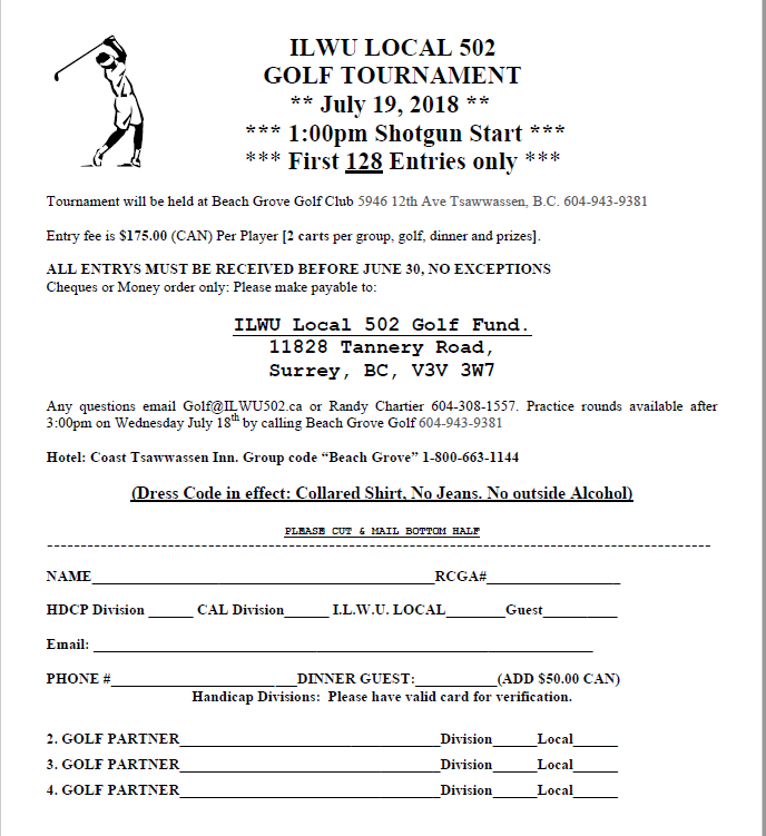 ILWU Local 502 Annual Golf Tournament @ Beach Grove Golf Club | Delta | British Columbia | Canada
