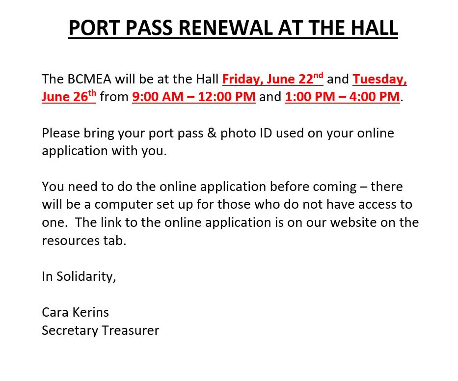 Port Pass Renewals @ ILWU Local 502 Hall (upstairs) | Surrey | British Columbia | Canada